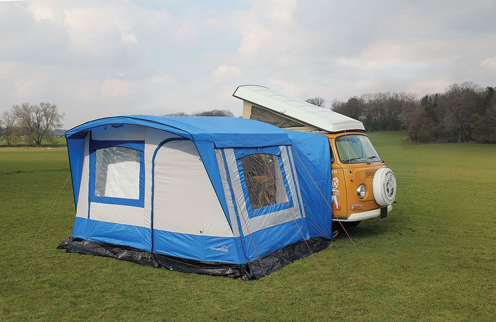 Left hand drive retro awning in blue & grey. Also ...