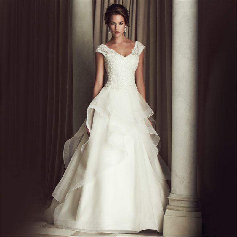 Jeanne Love Cap Sleeves A Line Vestido De Noiva Luxurious Robe De ...