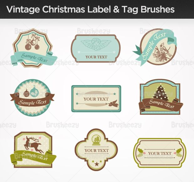 Vintage-xmas-label-tag-brush photoshop Pinterest Label tag - name labels templates free