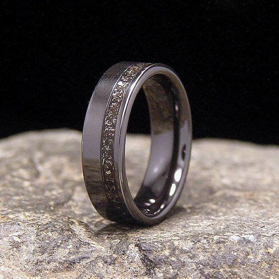 meteorite shavings wide offset inlay black zirconium