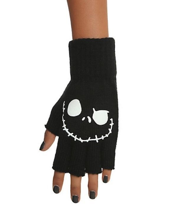 NWT Black The Nightmare Before Christmas Jack Face Disney Knit Fingerless Gloves