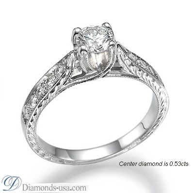 Vintage Style Engagement Ring, Hand Engraved By Diamonds USA.com  #VintageengagementRings#