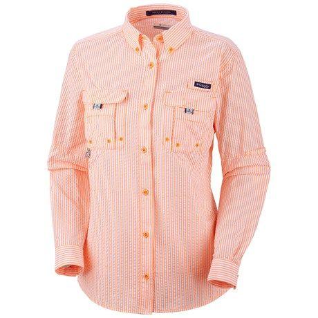 6377489ef20 Columbia Sportswear Super Bahama Shirt - UPF 30, Roll-Up Long Sleeve (For  Women) in Summer Orange/Seersucker