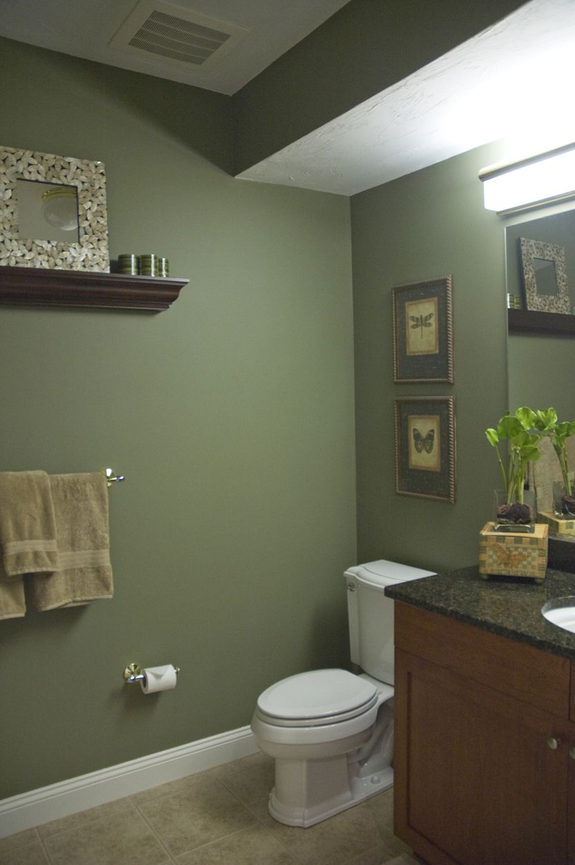 Basement Bathroom I Like This Color Bathroom Paint Colors Green Paint Colors Olive Green Bathrooms