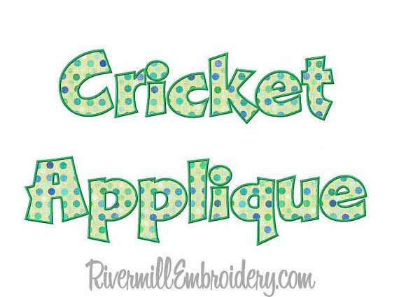 Cricket Applique Machine Embroidery Font by RivermillEmbroidery, $4.95