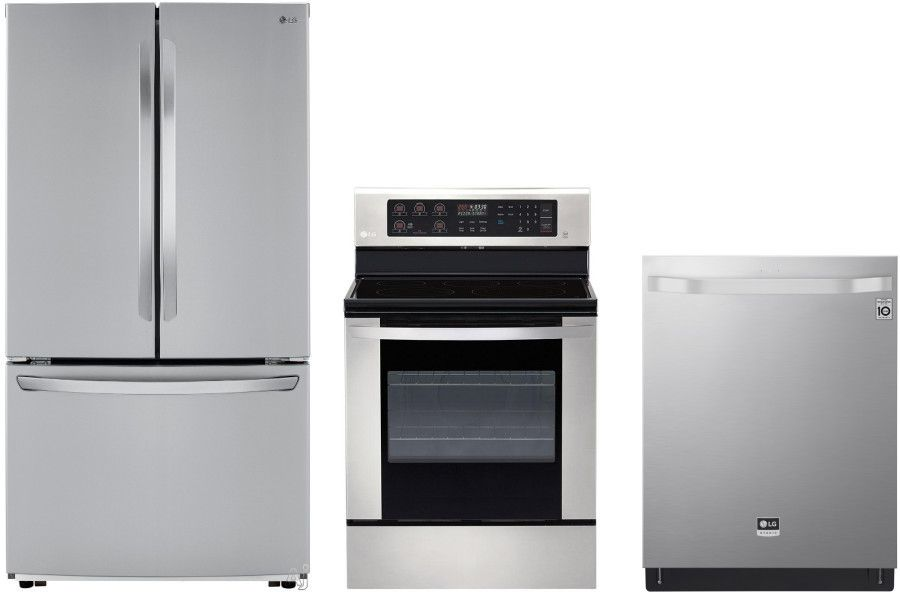 Lg 3 Piece Kitchen Appliances Package With French Door