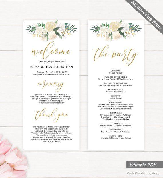 Greenery And Gold Wedding Program Template Printable
