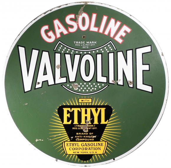 Large Round Sign For Valvoline Ethyl Gasoline Showing The