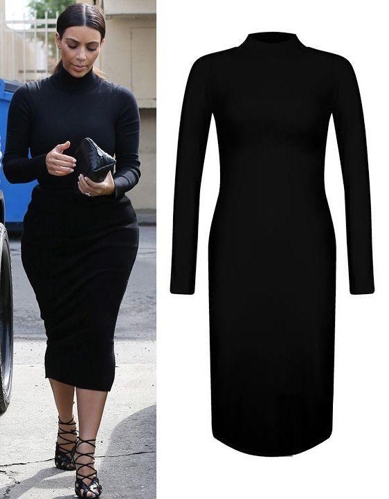 Plain Polo Turtle Neck Long Sleeve Full Length Maxi Dress