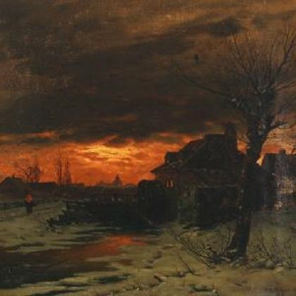 Georg Schmitz - Winterscape With Watermill In The Sunset