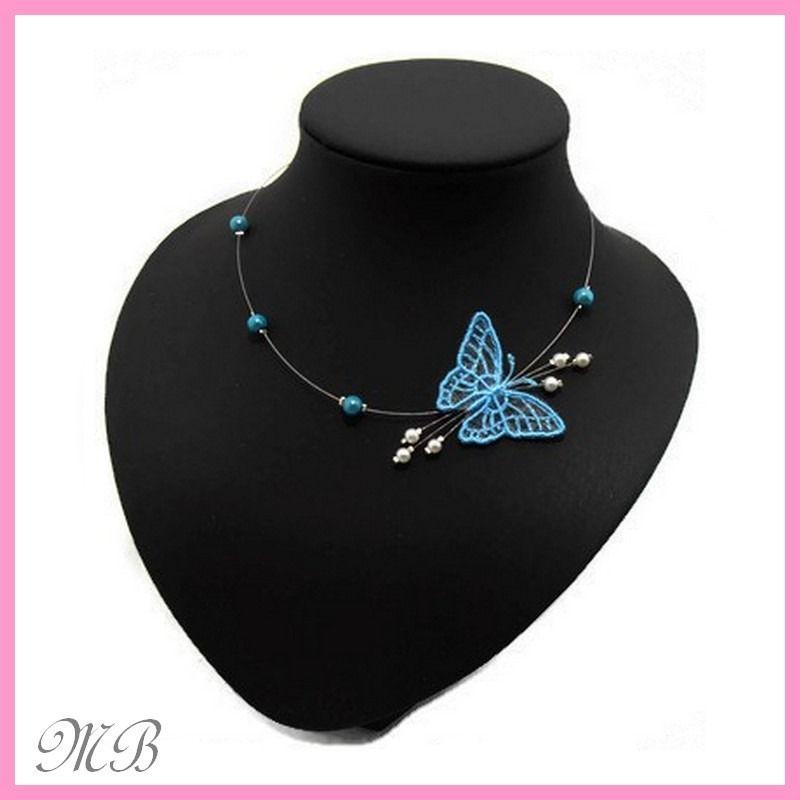 Collier enfant mariage papillon turquoise en dentelle : Bijoux ...