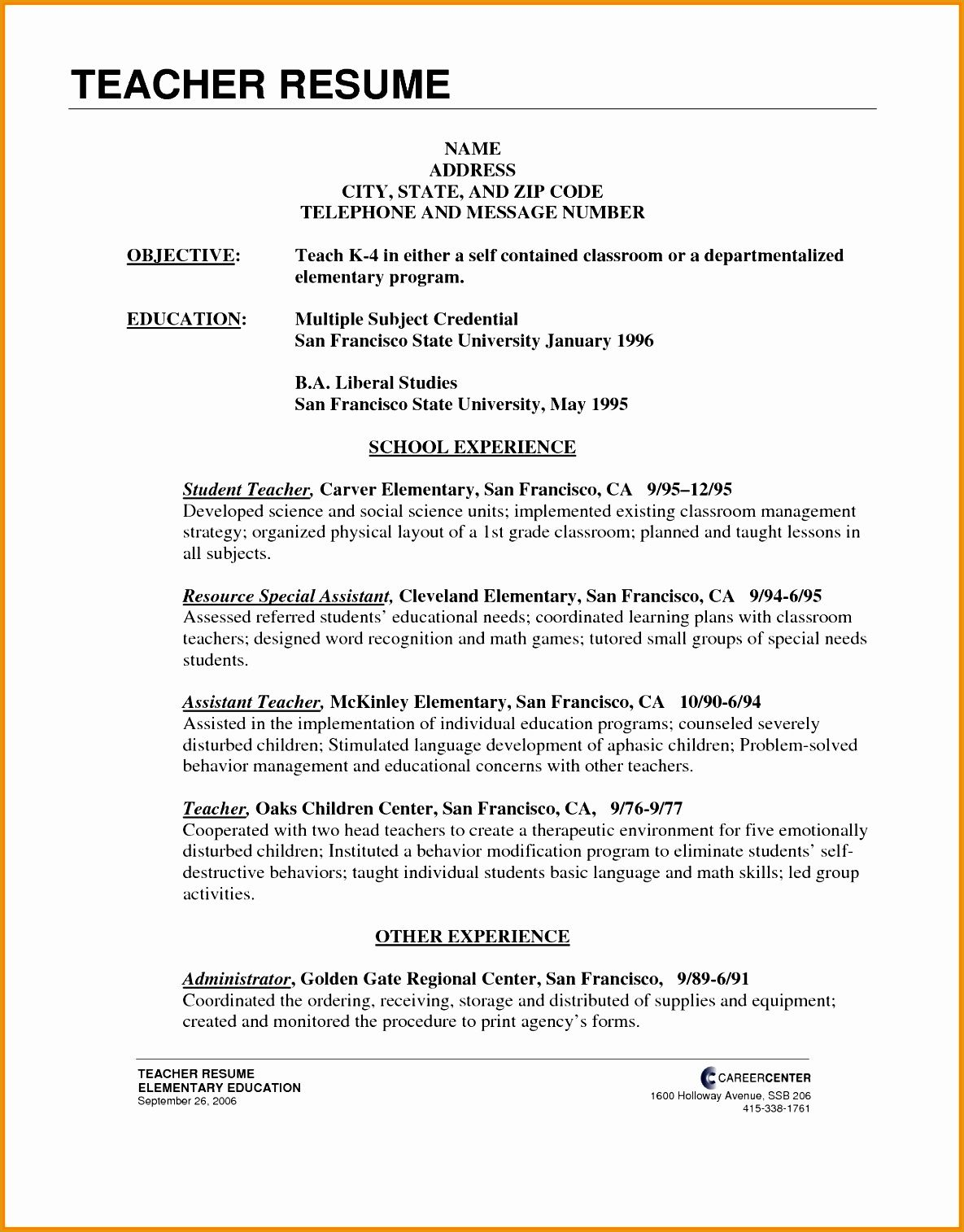 6 Elementary Teacher Resume Example Free Samples Examples Format