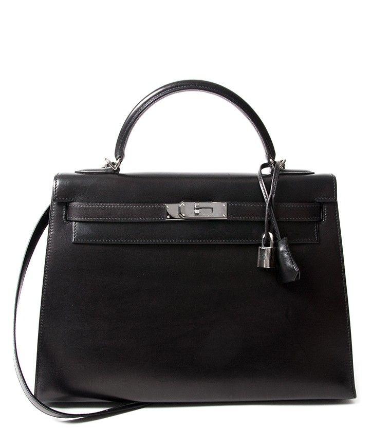 94b485626e Vintage Hermès Kelly black so black Bag With Shoulder Strap Black Box Calf.  Buy online