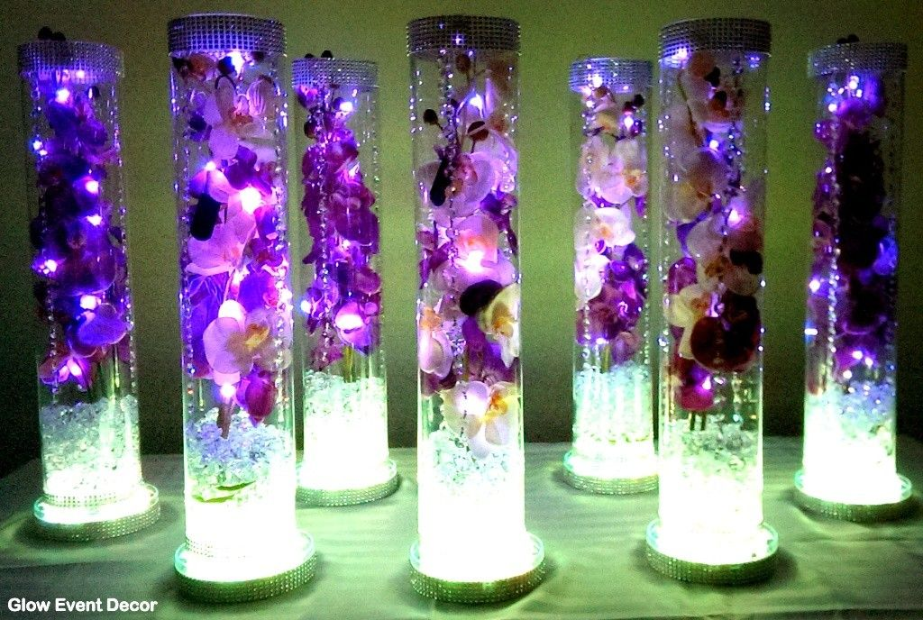 Delightful Cylinder Vase With Purple Orchids Wedding Table Centrepieces, With  Submersible LED Lighting And LED Light