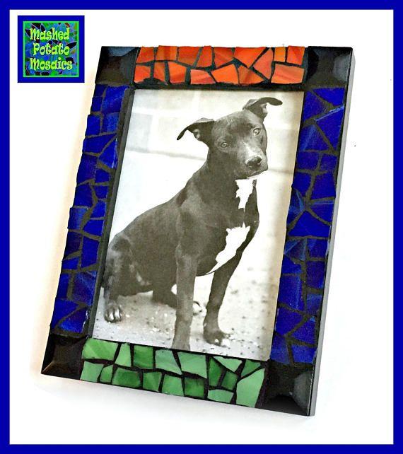 Mosaic Picture Frame, Black Red Green Blue Mosaic Frame, 5x7 Mosaic ...