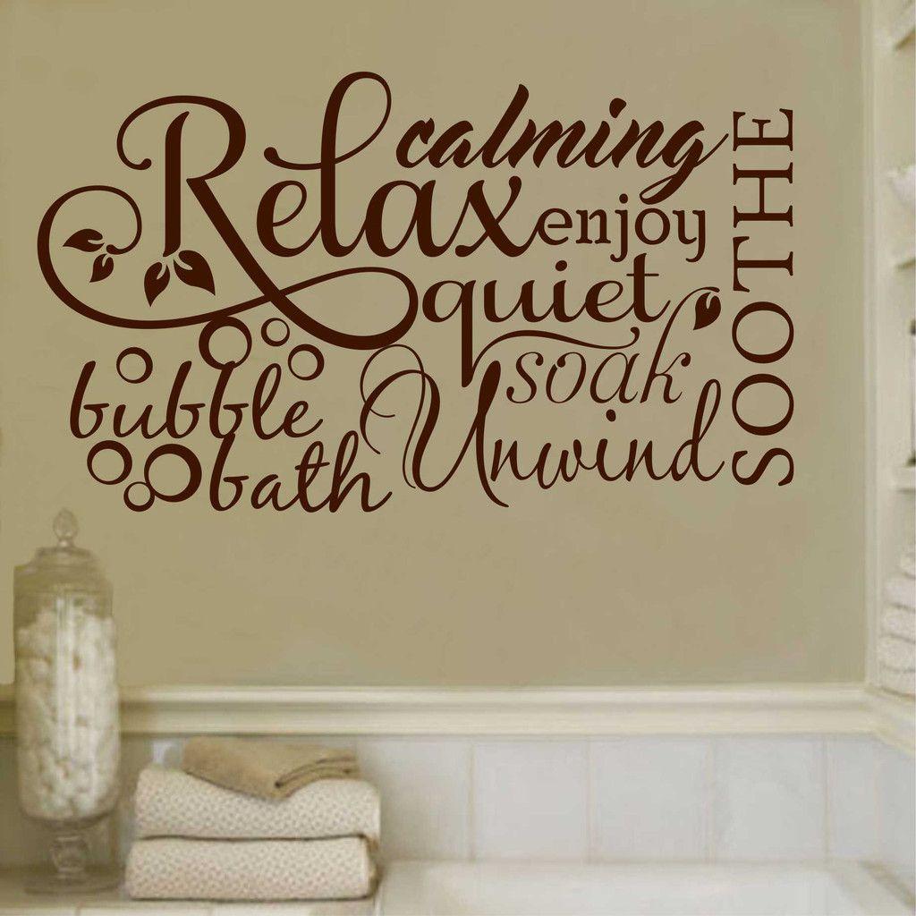Relax Bubble Bath Collage Bathroom Vinyl Decal Wall