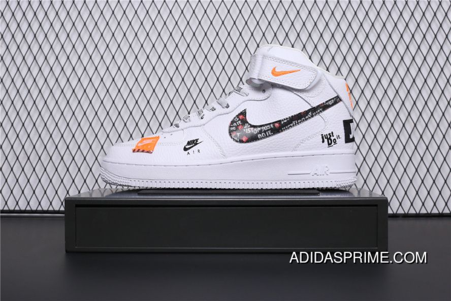 f55b76a2bcf BQ6474-100 Nike Air Force 1 AF1 Just Do It Collaboration Mid Top Casual  Sneaker Outlet