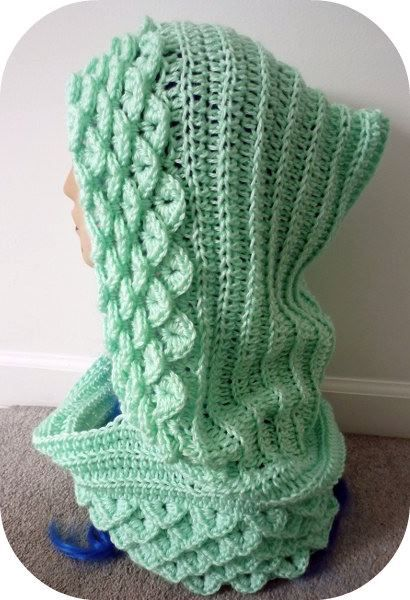 Free+Crocodile+Stitch+Scarf+Pattern | Crochet Hooded Scarf Pattern ...