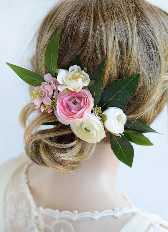 Bridal headpiece bridal hair clip floral headpiece pink flower pink flower hair clip floral hair accessories for wedding pink and cream flower headpieces mightylinksfo