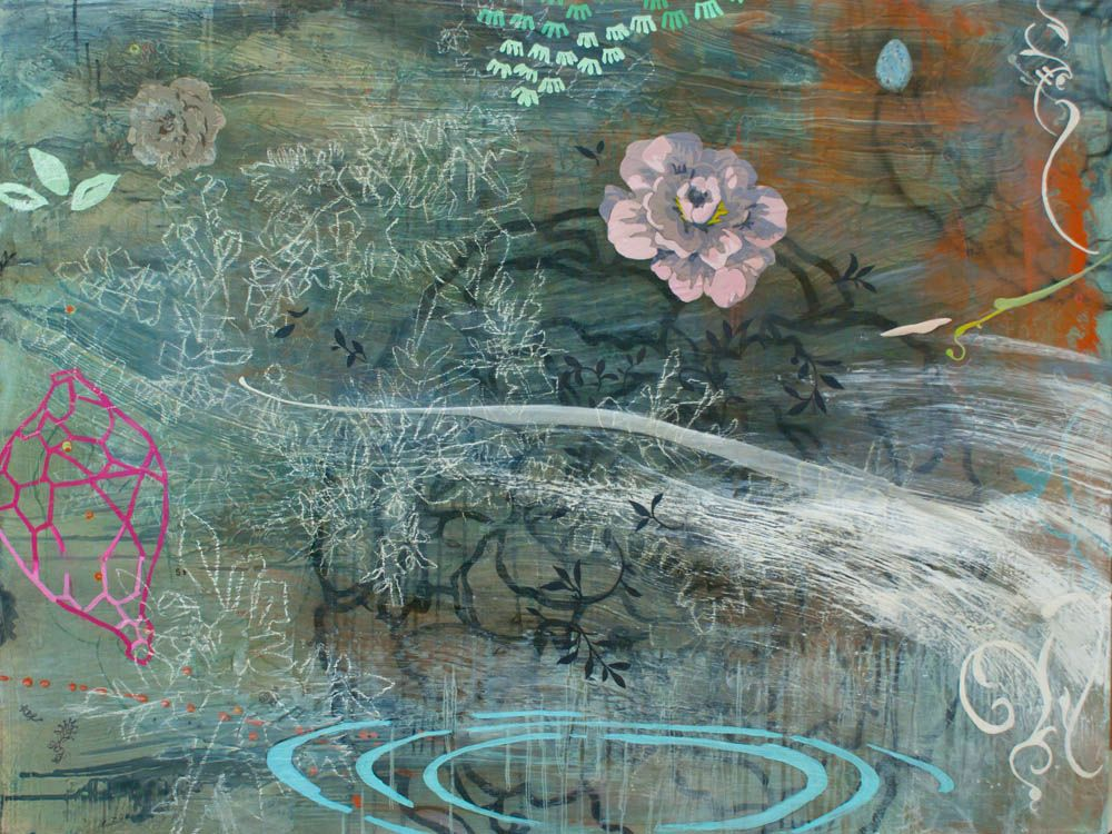 Snow and Roses_Spring (from the Wisdom Series) 36x48 acrylic, charcoal, seral transfer, and pastel on canvas 2012