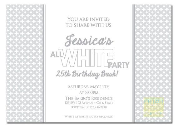 All White Party Invitation - White Party Invitation - Summer White - birthday invitation letter sample