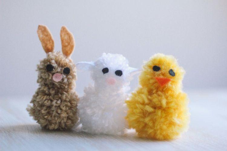 Basteln Mit Wolle Zu Ostern Pompom Tiere Basteln Mit