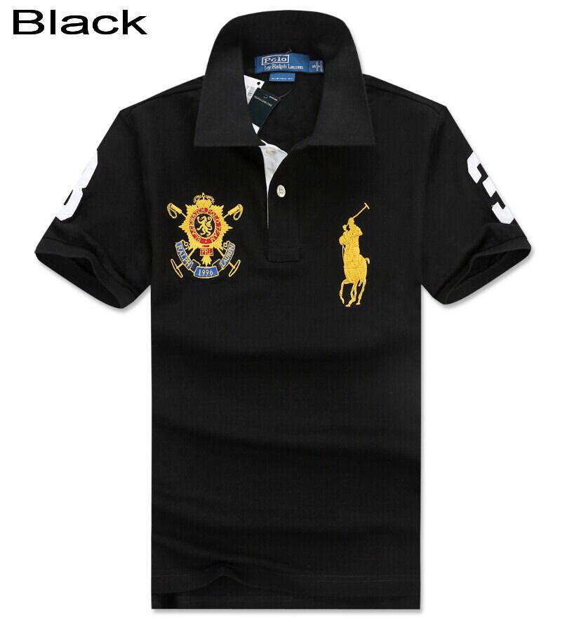 Ralph Lauren Men Custom Black Watch Crest Short Sleeve Polo Black ...