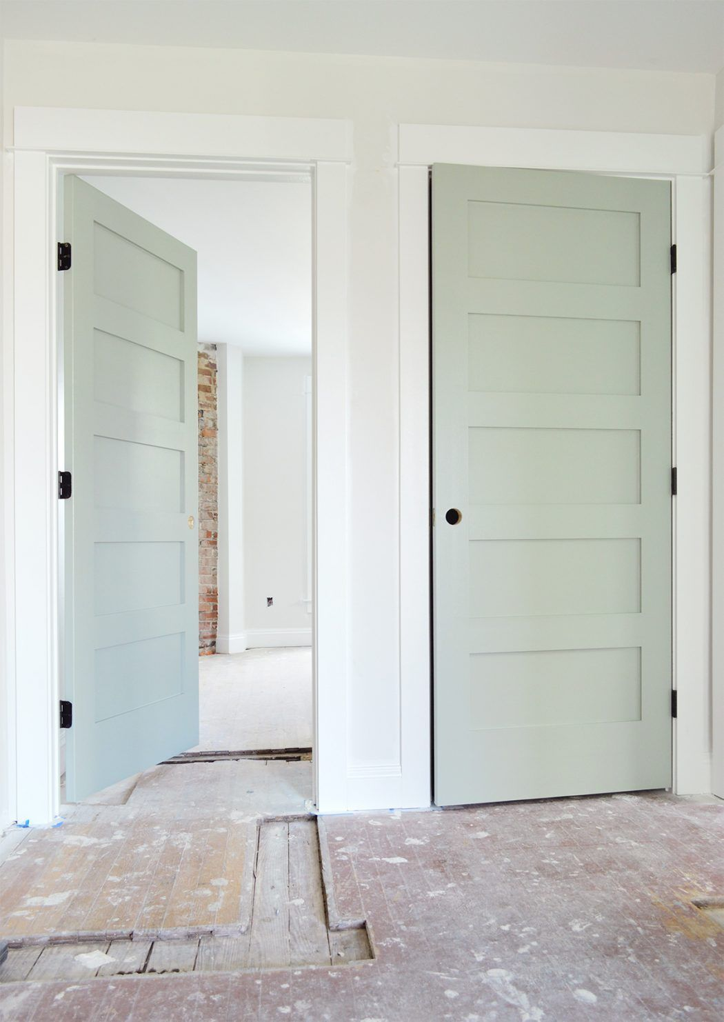 Sherwin Williams Oyster Bay Which Is Sort Of A Gray Blue With A Hit Of Seafoam In It It S Very Neu Interior Door Colors Painted Interior Doors Doors Interior