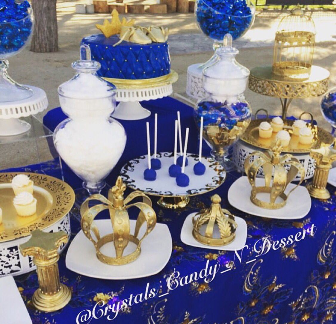 Themes Baby Shower Blue And Gold Centerpieces Plus Royal Theme Table