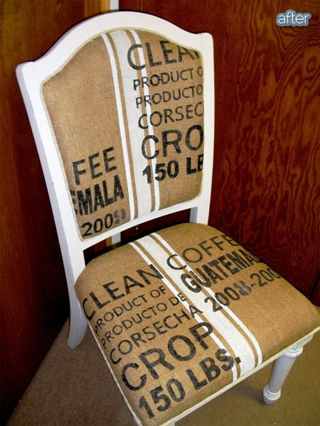 Better After: Burlap stenciled to look like a coffee sack