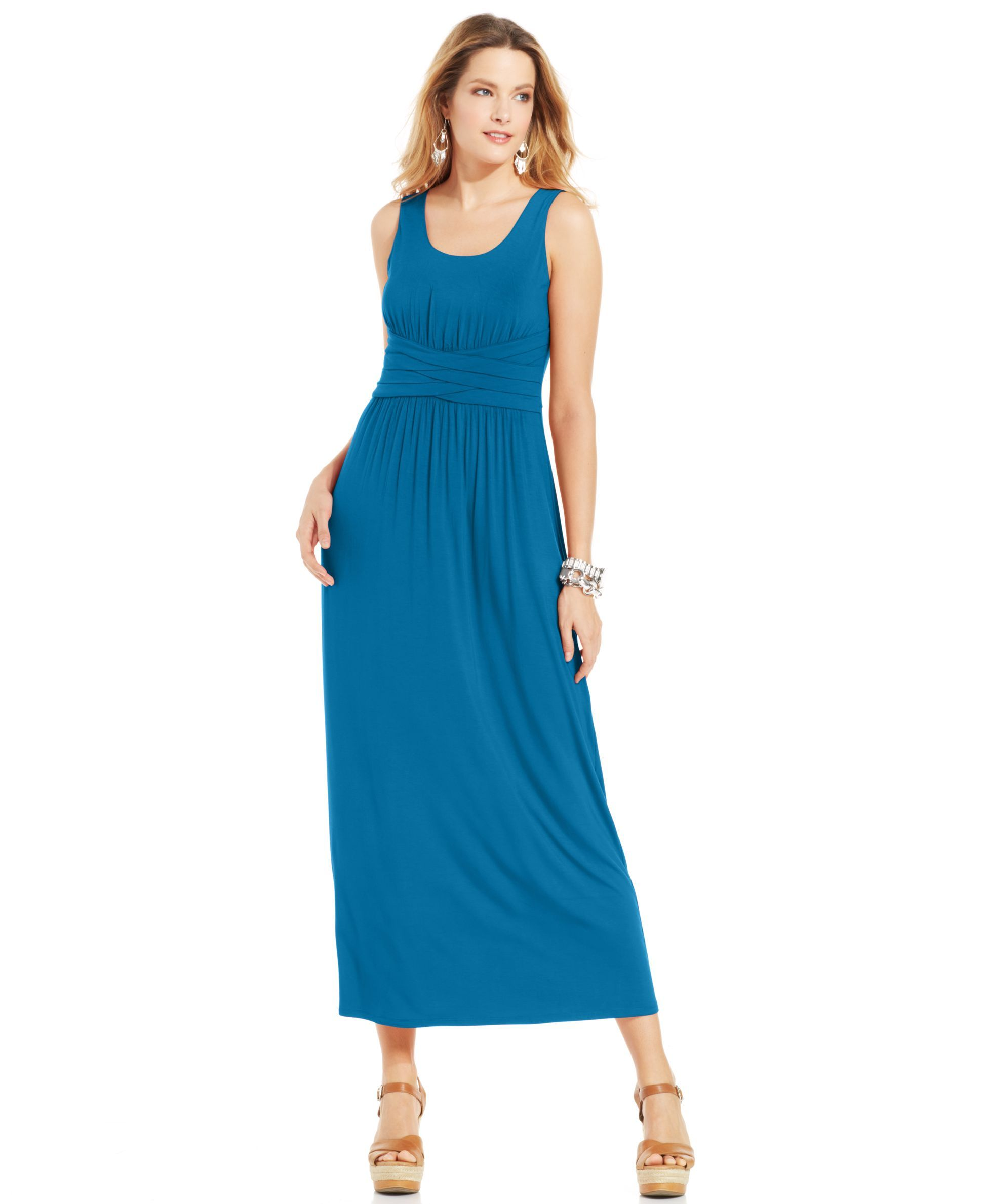 a8ab17ab045 Spense Petite Empire-Waist Solid Maxi Dress