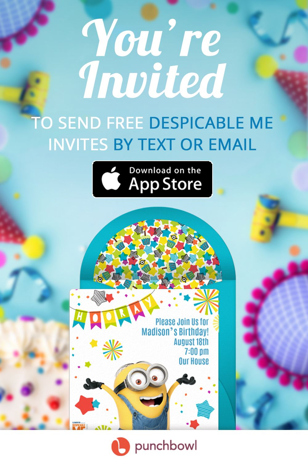 Send free Despicable Me invitations by text message right