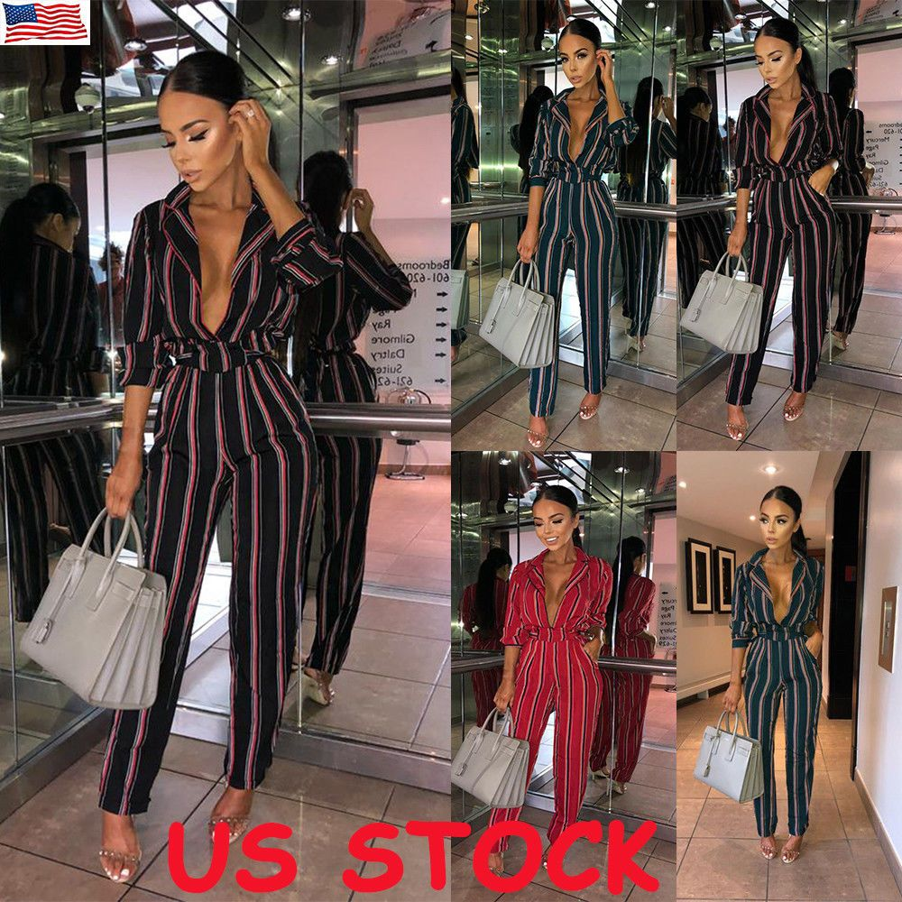 a532fa61b8c US Womens Striped Straight Leg Deep V Neck Jumpsuit Ladies Plunge Party  Playsuit  fashion  clothing  shoes  accessories  womensclothing   jumpsuitsrompers ...
