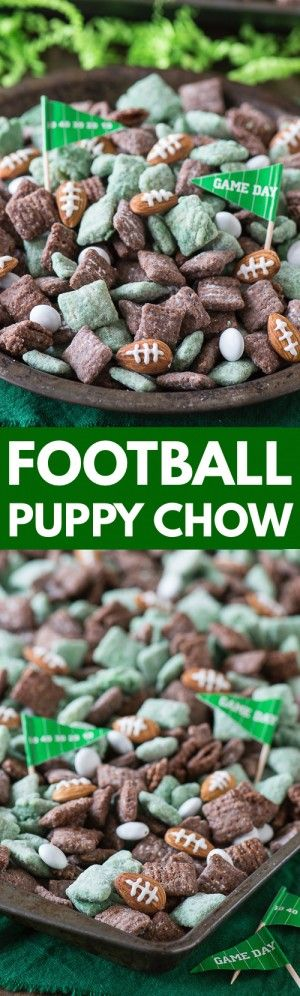 The ultimate football puppy chow! Cheer on your favorite team with this game day or super bowl snack recipe! #footballfood