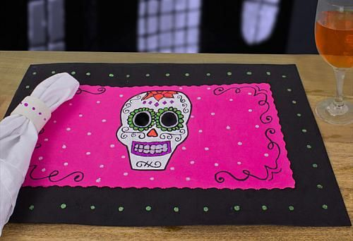 Create this project with Craft Twinkles® — Put a scare into your Halloween table with a bright and colorful skull placemat.