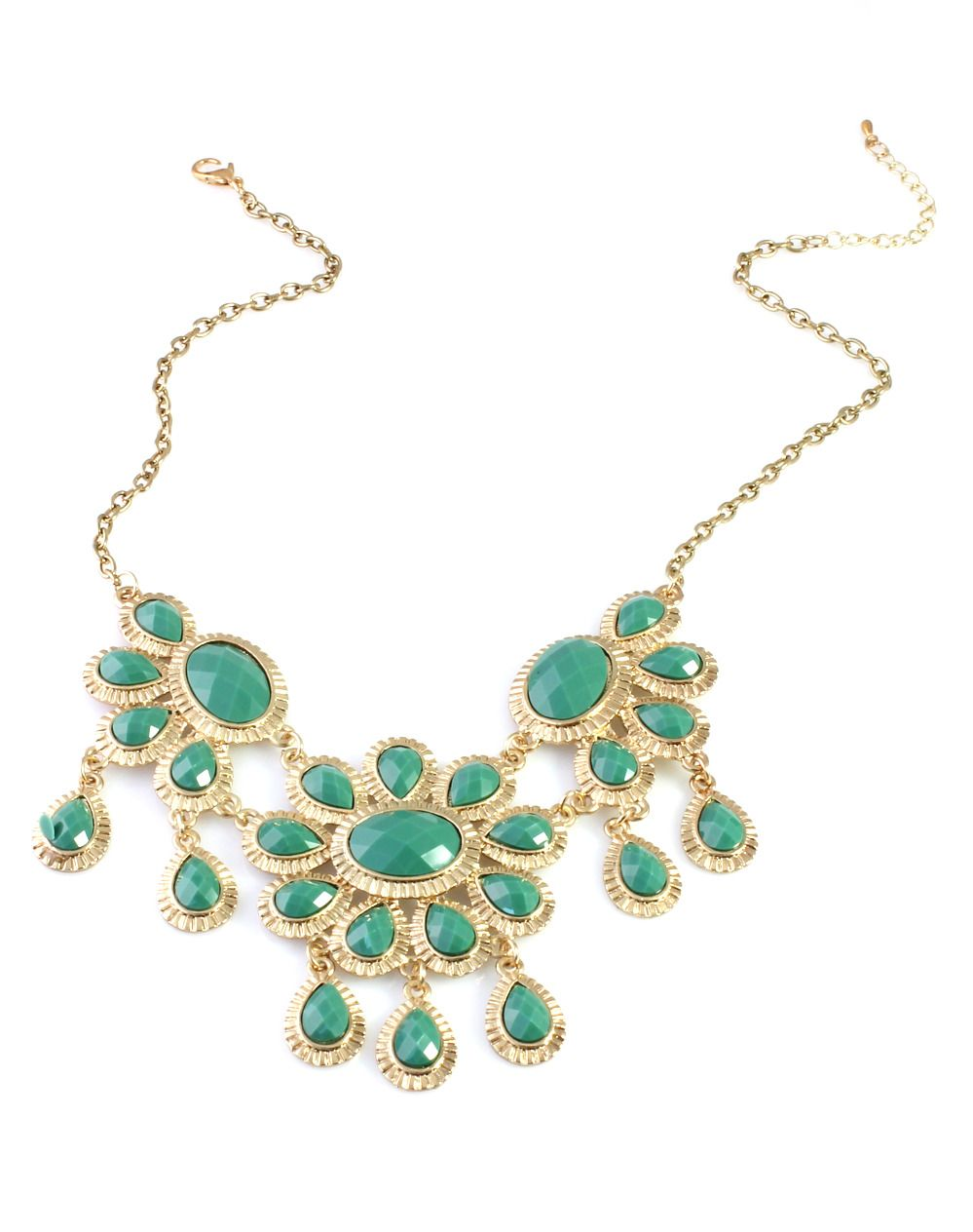 Elegant bib necklace featuring faceted gemstones in floral motif, framed by golden finery. Made luxe by the teardrop fringe, this necklace will add plenty of glam to your casual outfits.Item Details:Pendant: 2.95in * 5.12inLength: 16