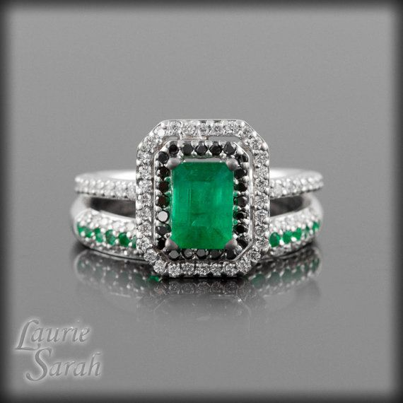 Kelley Green Emerald Engagement Ring Set by LaurieSarahDesigns. , via Etsy.