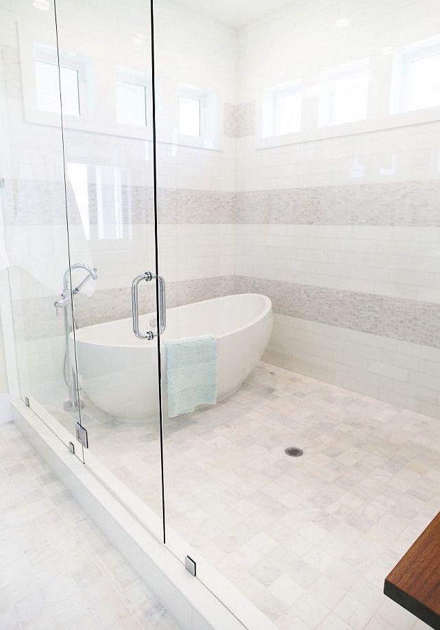 Freestanding bath inside of shower. Tub in shower. Free