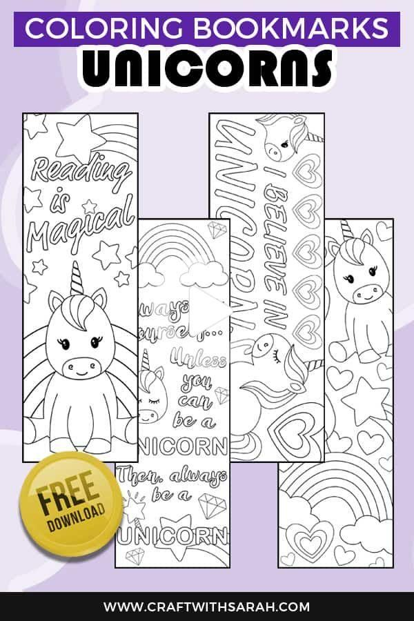 Free Unicorn Coloring Bookmarks to Print | Craft With Sarah