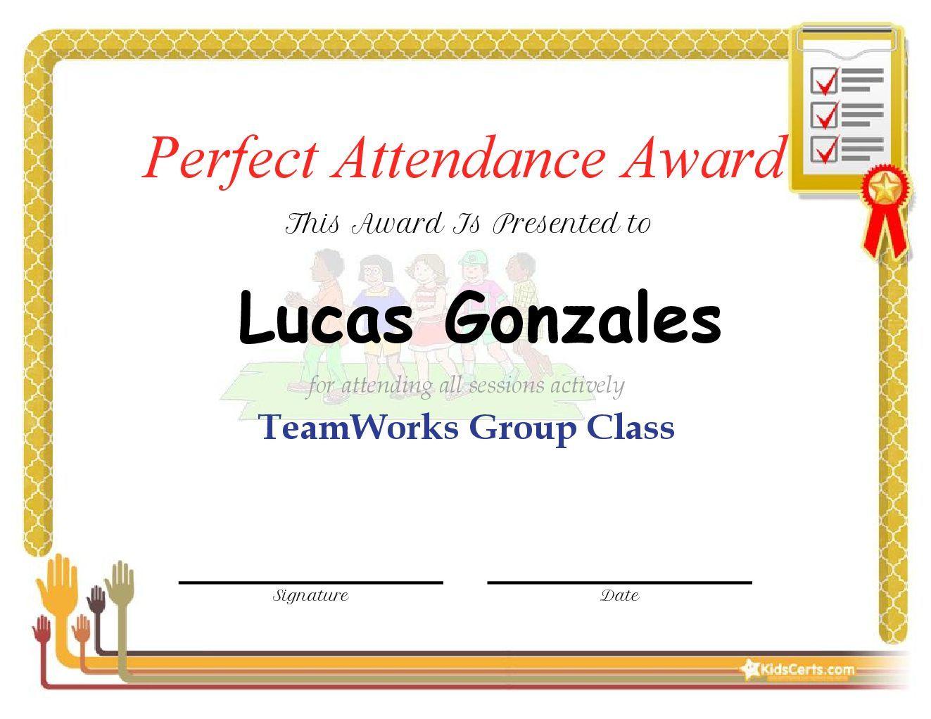 Perfect Attendance Award - TeamWorks Group Class
