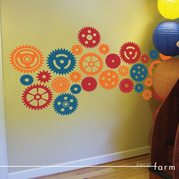 Gears and Cogs, Three Color Set - Vinyl Wall Art Decal Sticker on ...