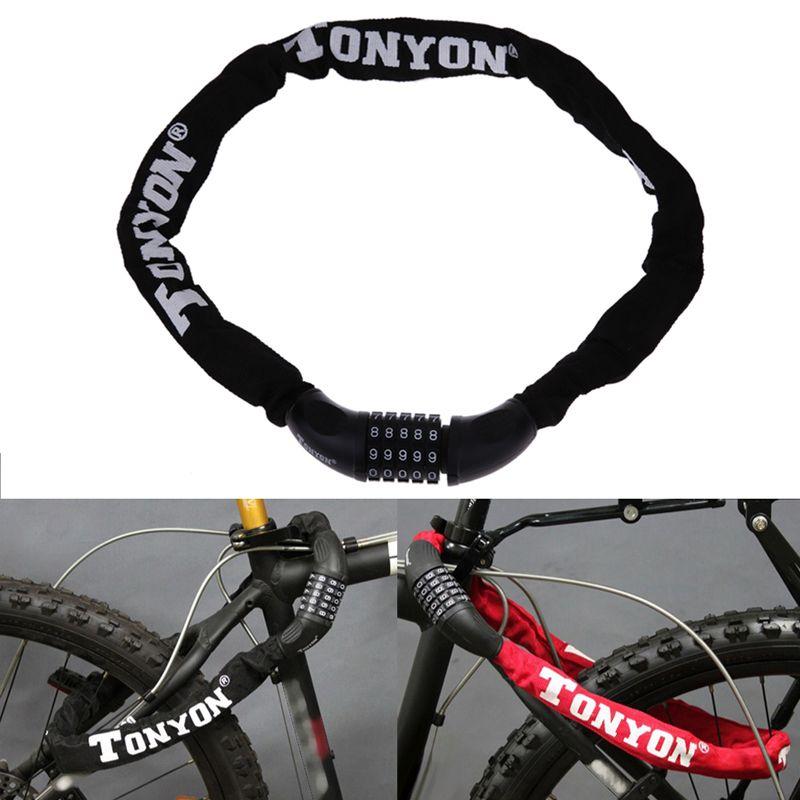 Check Price Bicycle Lock 5 Password Bike Digital Chain Lock