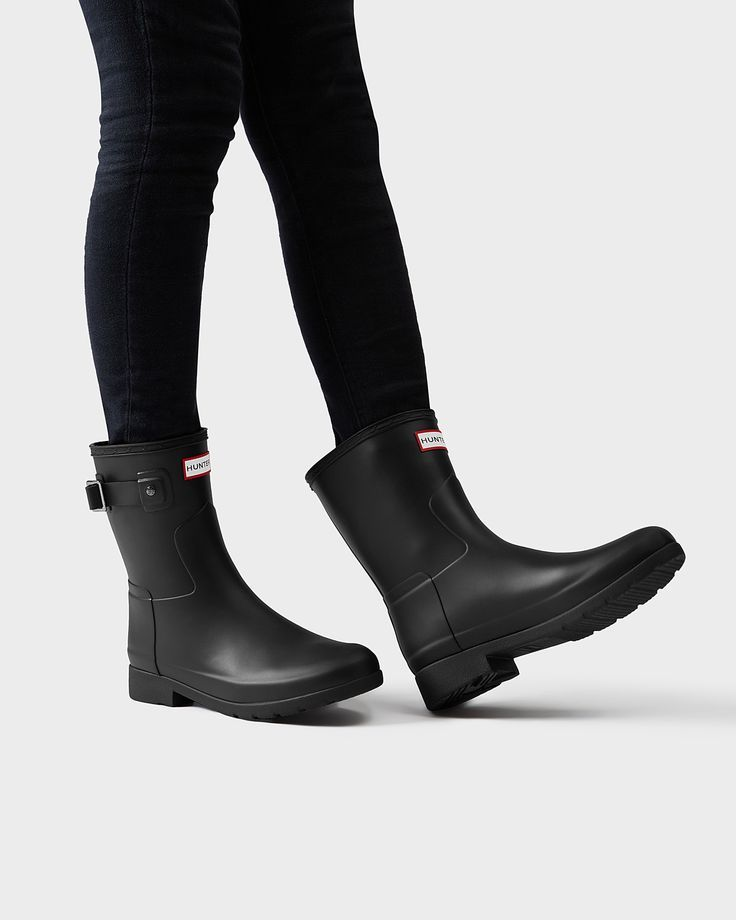 Hunter Bottes en Caoutchouc Original Refined High Heel Chelsea Femme Noir gx0fN34b