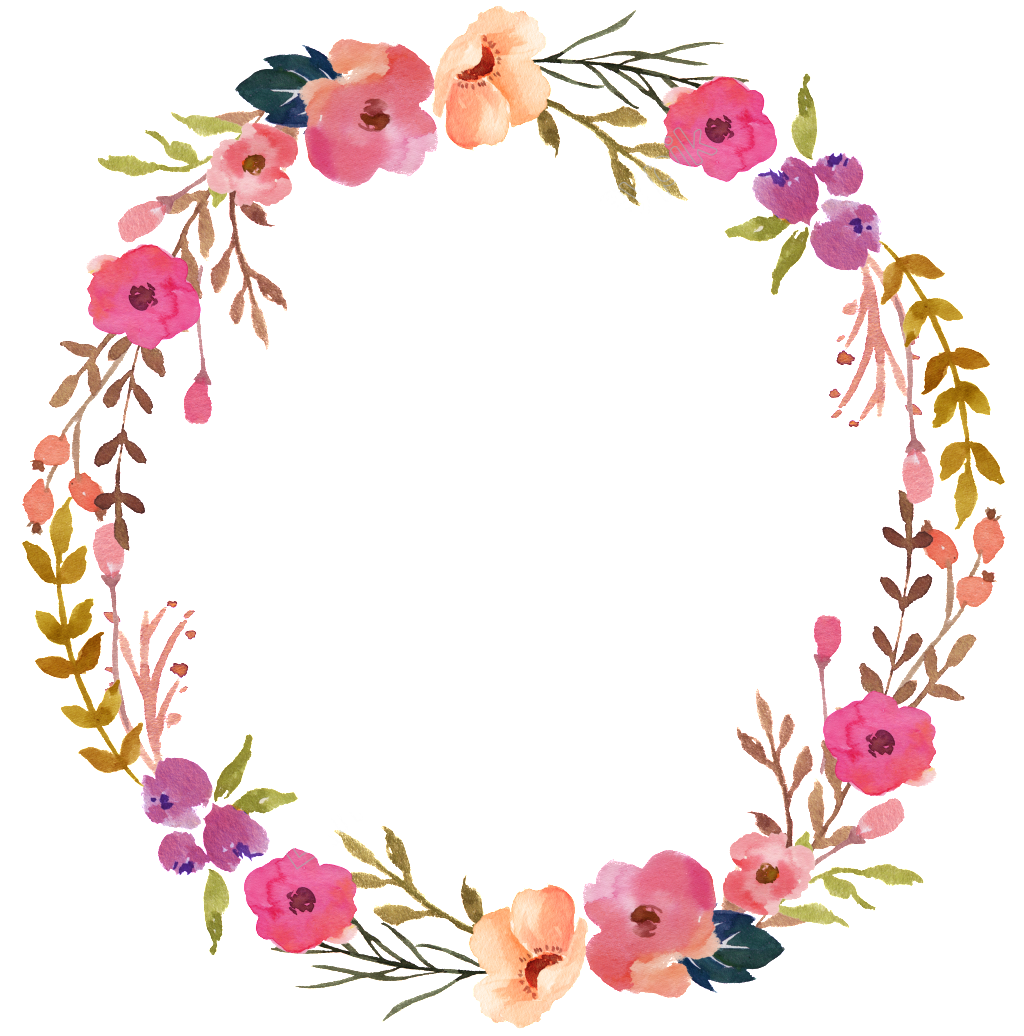Corona De Flores Pintado A Mano Flores Ornamentales Acuarela Transparente Png Circulo De Flores Fondos De Flores Imprimibles Flores