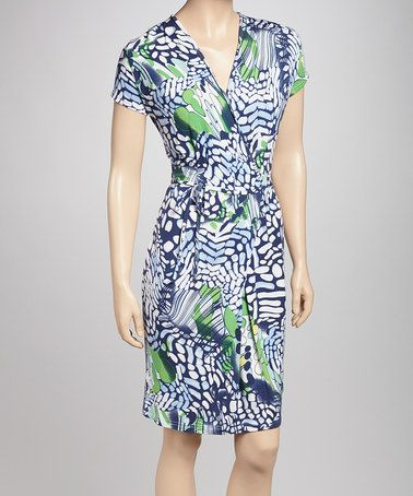 Take a look at this Blue Petite Wrap Dress by Biacci on #zulily today!