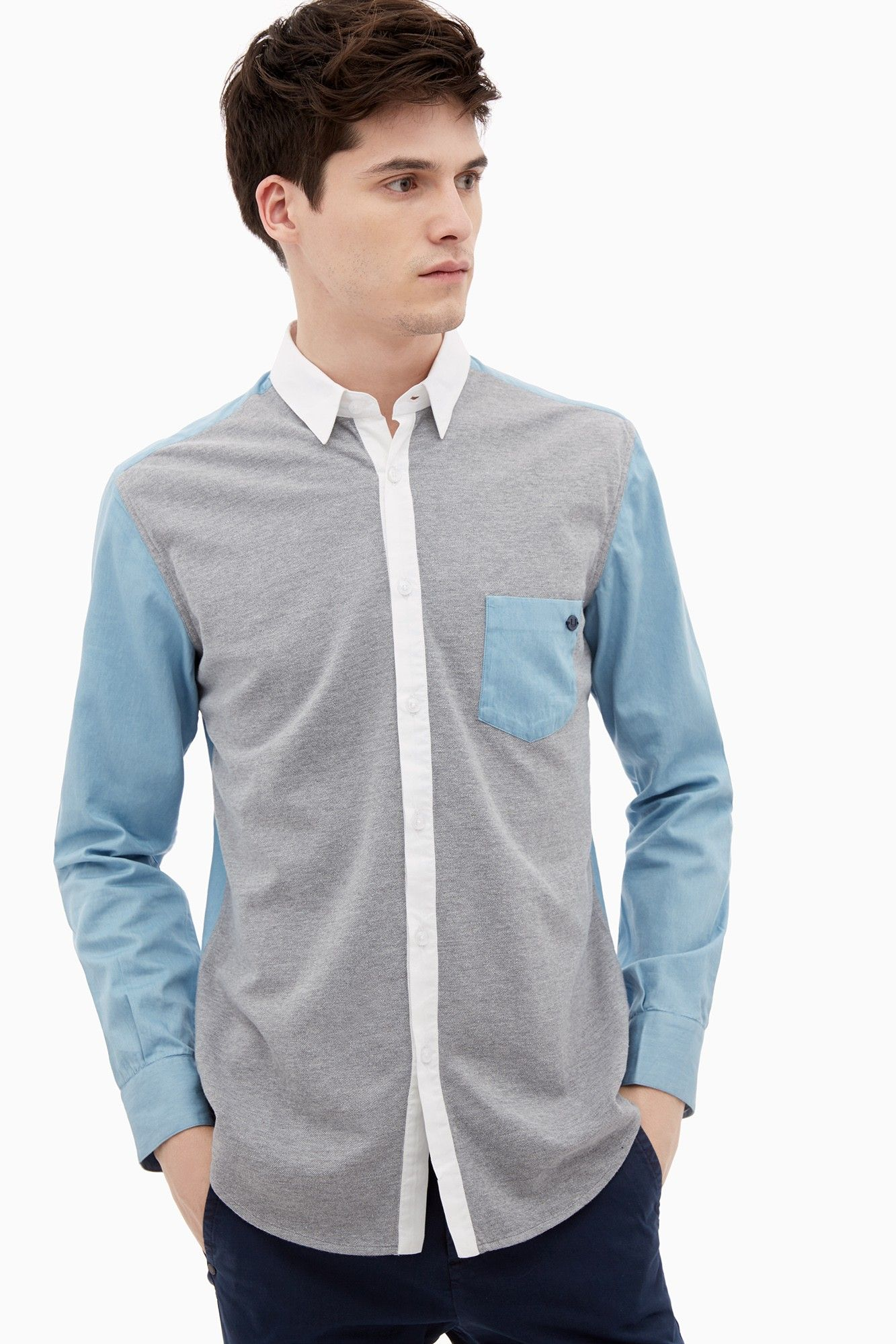 Cotton Jersey And Chambray Shirt - shirts   Adolfo Dominguez shop online