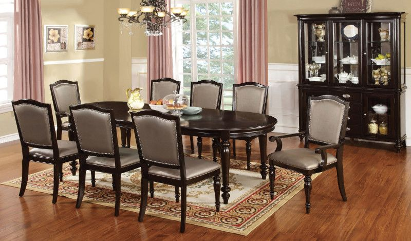 Furniture Of America Cm3970t Gl 7pc 7 Pc Harrington Dark Walnut Finish Wood Elegant Formal Style Dining Table Set