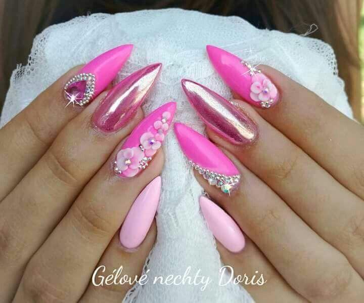 Pin By Kotton Kandy Klark On My Stuff Pink Glitter Nails Pink Nails Pink Stiletto Nails