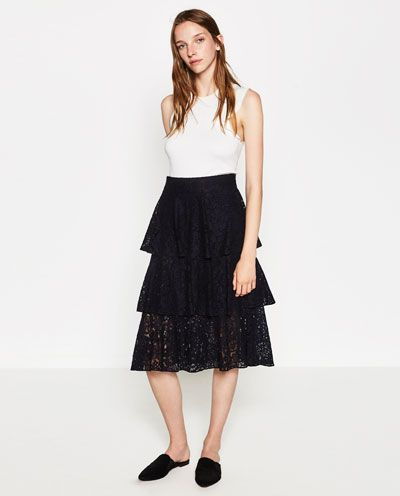 Image 1 of FRILLED LACE SKIRT from Zara