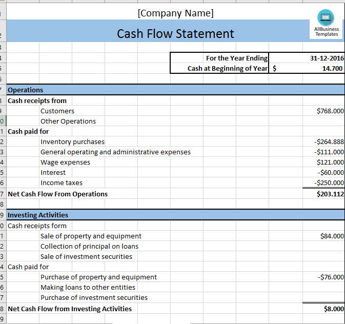 Cash Flow Statement  Cash Flow Excel Template  Templates